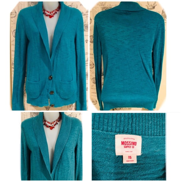 NICE SWEATER CARDIGAN IN A RICH TURQUOISE COLOR